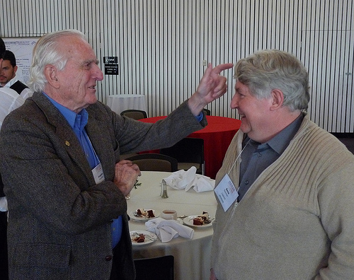 Doug Engelbart with the late Rene Sommer of Logitech, responsible for multiple key innovations around the mouse. (At the celebration of the 40th anniversary of the mouse.) Photo by Erik Charlton.