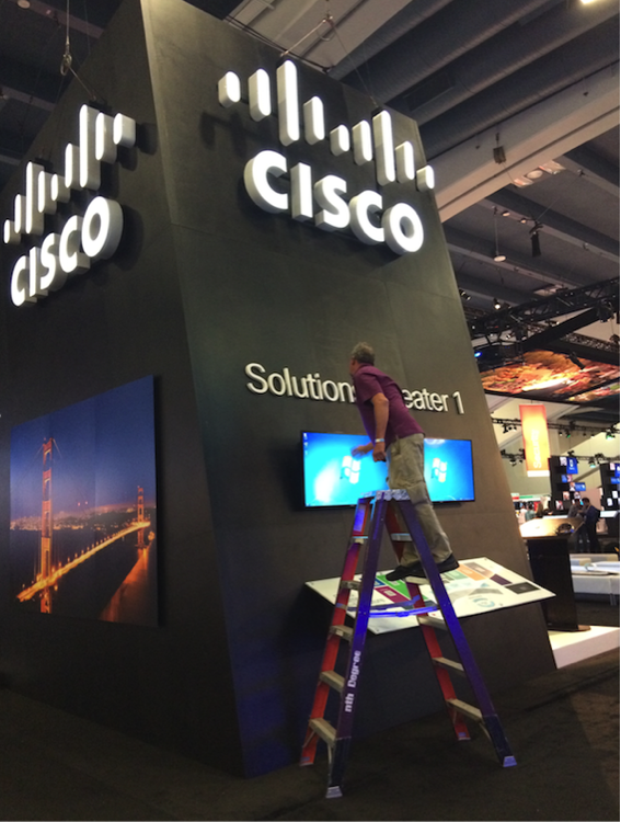 Setting up the show floor at Cisco Live.