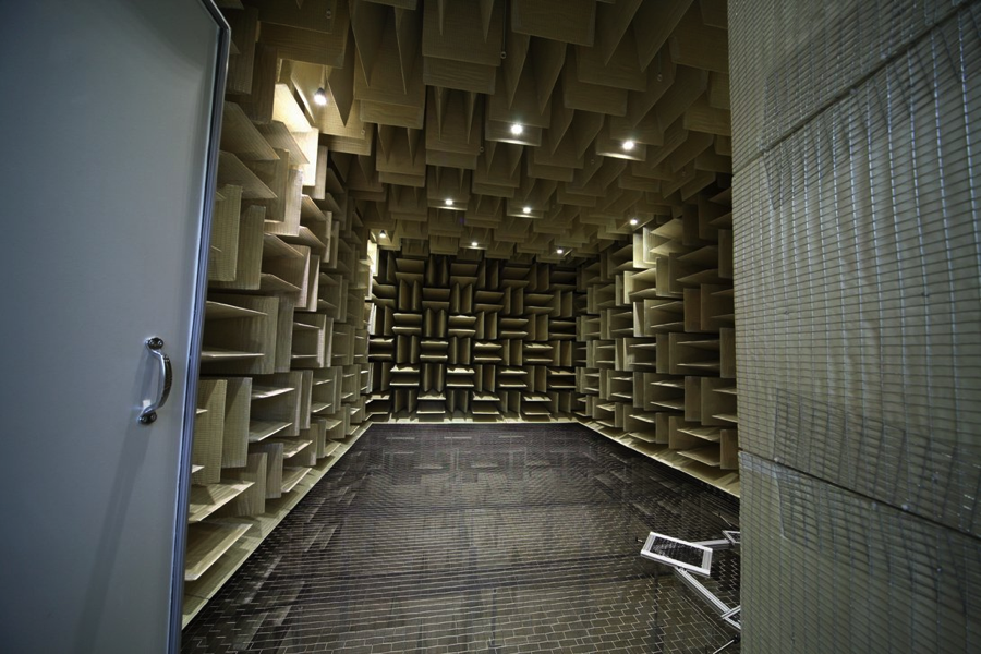A look at our acoustic anechoic chamber, which provides a reflection free environment for acoustic tests. We specify our chamber to meet or exceed the highest industry standards