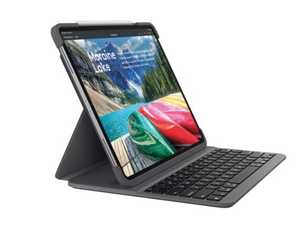 2f2ae8d1d90 SLIM FOLIO PRO adjusts to meet your needs — reading, sketching or typing.  Simply fold up the SLIM FOLIO PRO keyboard to catch up on your favorite  novels or ...